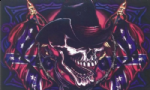 Pirate Skull Cowboy Large Flag - 5' x 3'.